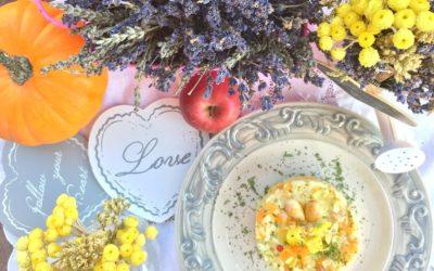 Risotto arcobaleno con zucca, mele al curry, erbette di Provenza e mandorle tostate per thewomoms – Walk in the rain