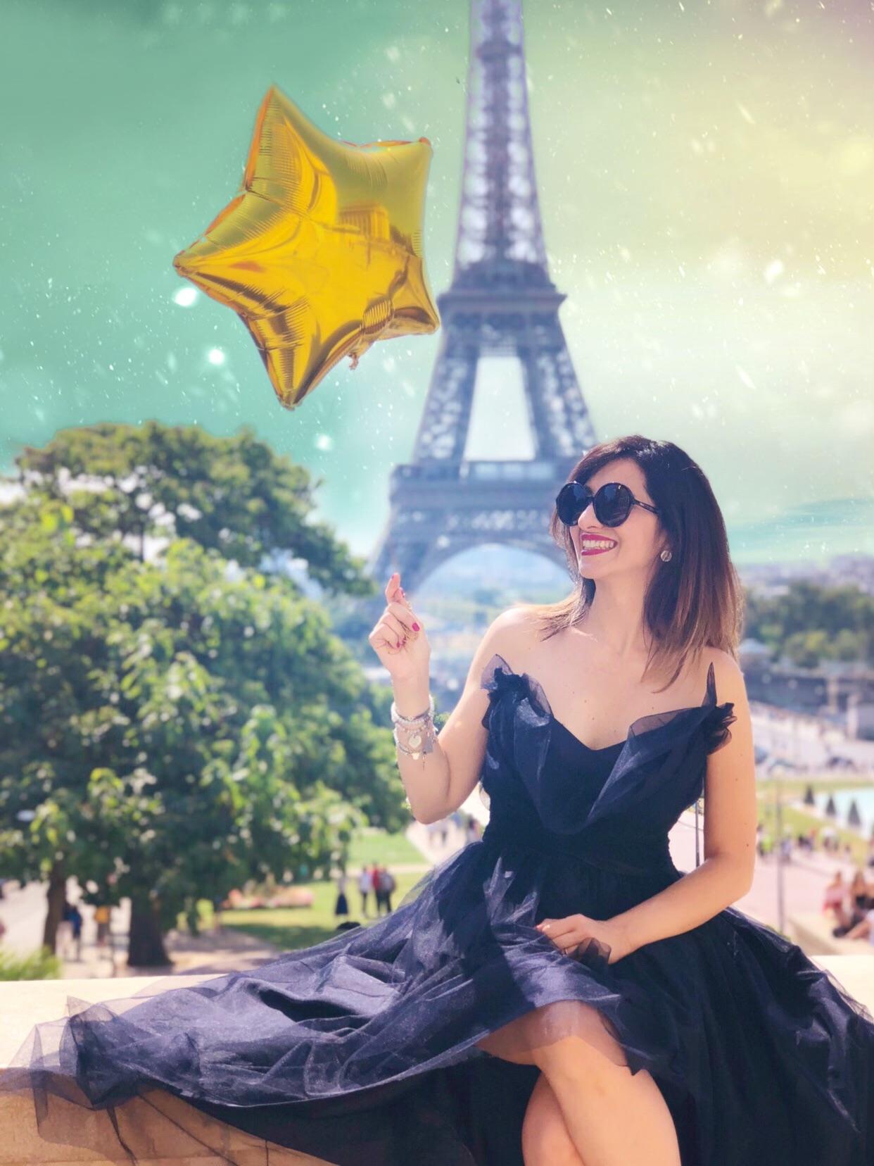 Io e Paris, colpo di fulmine - abito di Alberta Ferretti, trou eiffel, eiffel tower, paris dramer, paris travel, paris ma ville,
